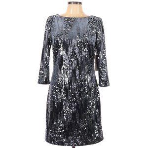 Eliza J Velvet & Sequin Sheath Dress in Slate